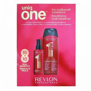 Zestaw regenerujący szampon i treatment w sprayu Revlon Uniq One